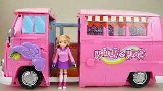 Pink Camping car and Baby doll toys play