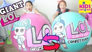 GIANT LOL LUNCH BOX SWITCH UP CHALLENGE! Biggest LOL Surprise Giant Ball Wave 2 Kids Toys and Joys