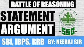 Statement And Argument Reasoning Tricks || Battle of Reasoning
