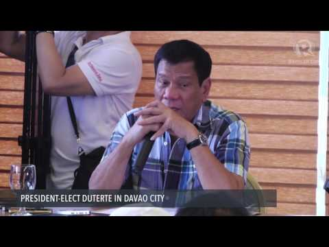 President-elect Duterte's first press conference Monday, May 16