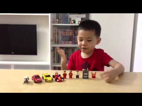 Dylan with Shell Exclusive Ferrari Lego Models