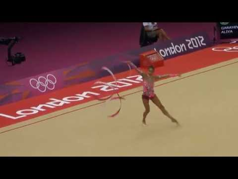 Aliya Garayeva from Azerbaijan, in the finals of London 2012 Olympics with ribbon.MP4