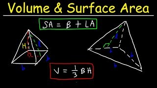 Surface Area of a Pyramid & Volume of Square Pyramids & Triangular Pyramids