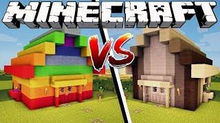 RAINBOW HOUSE VS MONOCHROME HOUSE - Minecraft