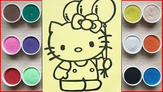 Đồ chơi trẻ em TÔ MÀU TRANH CAT MÈO HELLO KITTY - Colored sand painting Hello Kitty toys (Chim Xinh)