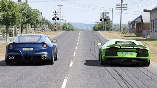 Lamborghini Aventador vs Ferrari F12 on Countryside Road / Assetto Corsa 9.87 MB