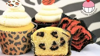 Safari INSIDE Cupcakes! How to Make Leopard & Tiger Print Surprise Inside Cakes and Cupcakes!
