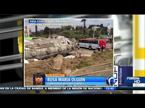 Pipa impacta tres autobuses en la México Toluca
