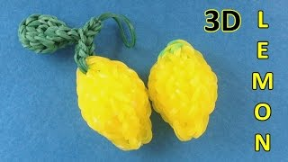 Rainbow Loom: 3D Lemon Charm || How to make charms with loom bands Instructions
