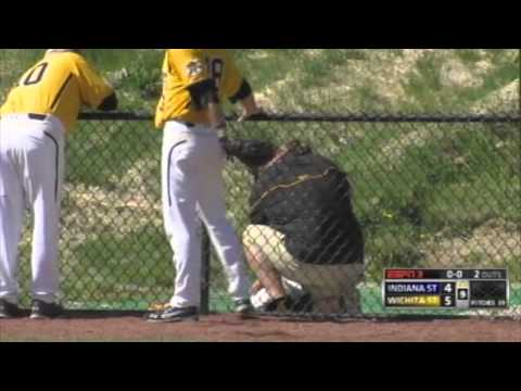 Wichita State's Mikel Mucha makes catch in foul territory