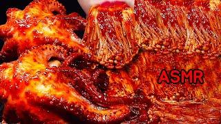 ASMR ऑक्टोपस, मशरूम JAMUR ENOKI BIG(GIANT) OCTOPUS (*RECIPE) SPICY ENOKI MUSHROOMS SPICY