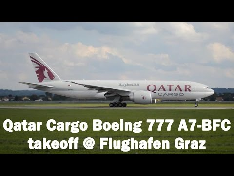 Qatar Cargo 777 takeoff @ Flughafen Graz | A7-BFC