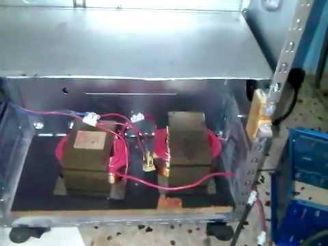 Soldador de arco casero (Venezuela) con transformador de microondas