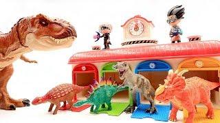 PJ Masks! Jurassic World2 Dinosaur Battle T Rex Toys! Color Dinosaur Toys For Kids