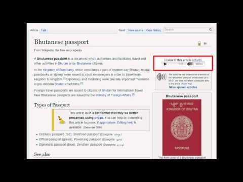 Bhutanese Passport - Wiki Audio (w/ text)