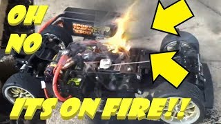 rc car fire burnout attempt