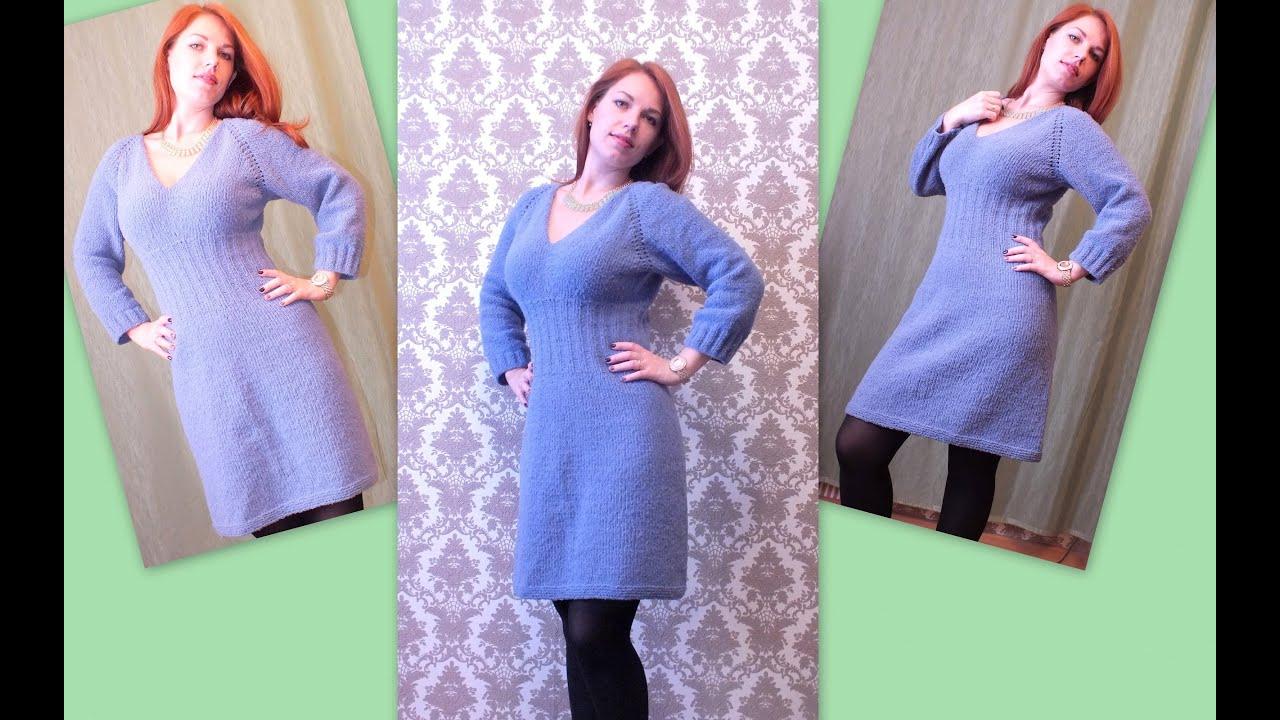 Вязание платья с реглан рукав
