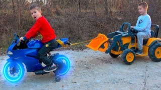 Kids Ride on Power Wheels with Motorbike and towing 12V Tractor / Video for Children