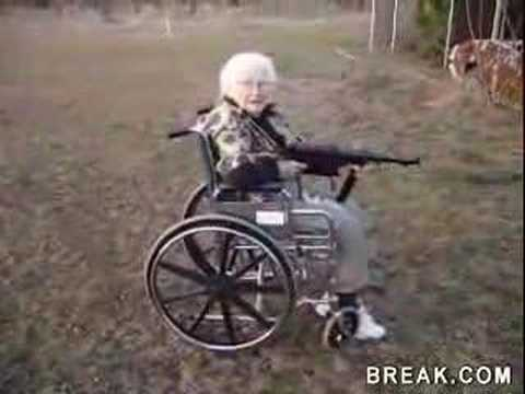 Old woman shoots MP40 Machine gun