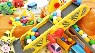 Wheels on the bus go round and round Tayo Bus Construction Site Gumball YapiTV Toys