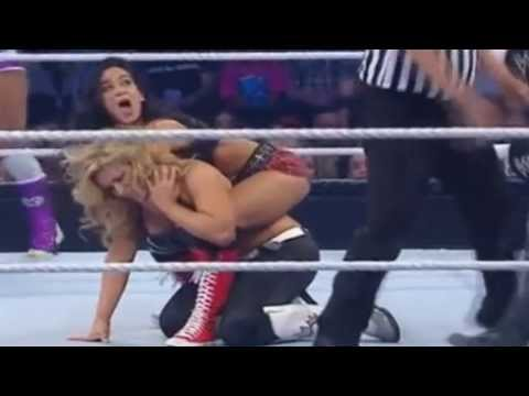 WWE - A.J. Lee (Bodyscissor) - Layla (headscissor) vs Natalya [Extended]