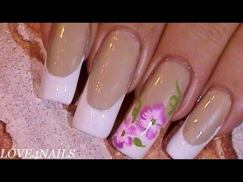 Elegant Soft Subtle Floral White French Manicure Nail Art DesignTutorial