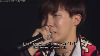 ENG SUB J HOPE can't stop crying while he thanks his family and BTS fans PART 5