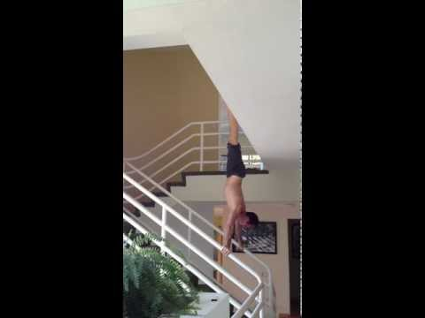 Wide Railing Press to Handstand, Stradde down to Straddle Plange with Tari Mannello