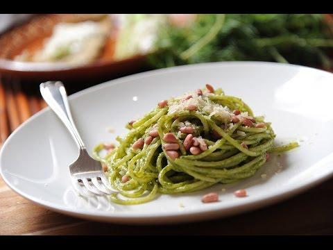 Espagueti con pesto de romeritos