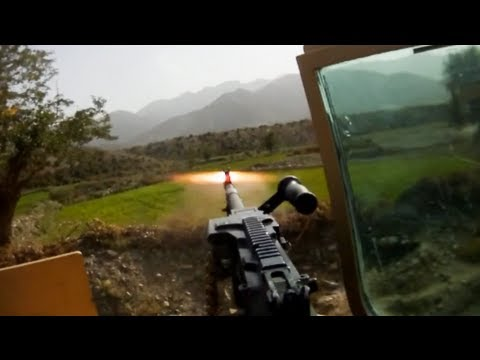 RPG Hits In Front of Convoy During Ambush - Taliban Firing Position Visible