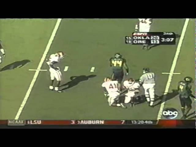 Oregon TE Dante Rosario 13 yard catch vs. Oklahoma 9-16-2006