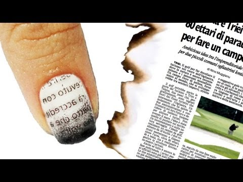 Nail Art Tutorial Giornale Bruciato - Burnt Newspaper Nails