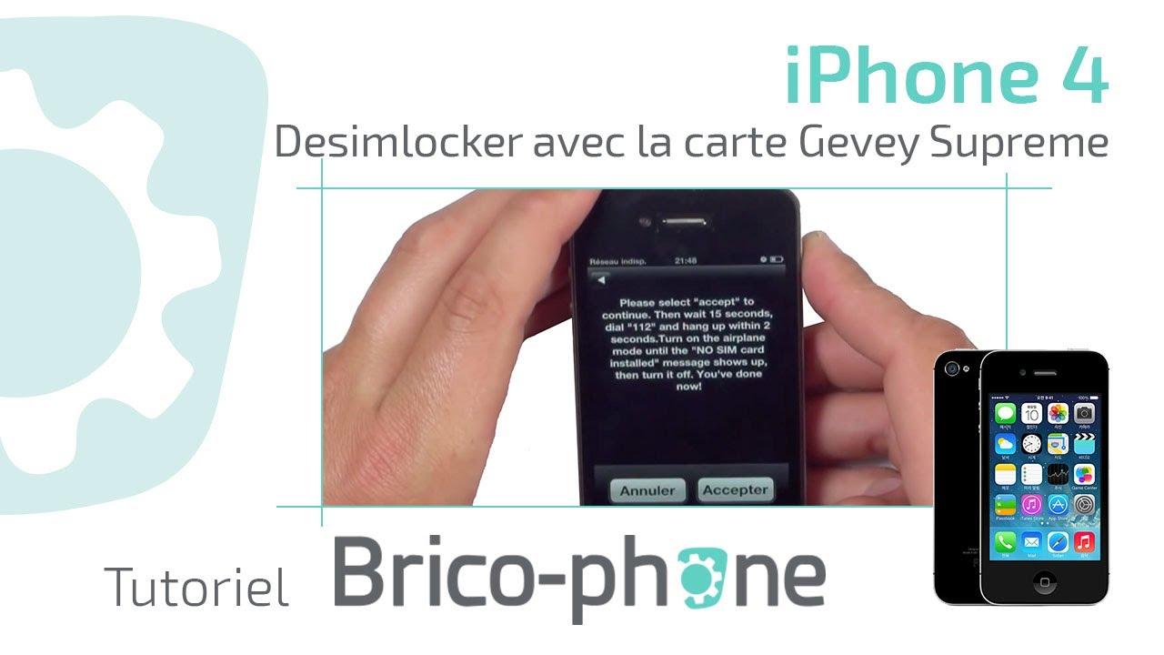 tutoriel desimlocker iphone 4 avec la carte gevey supreme youtube. Black Bedroom Furniture Sets. Home Design Ideas