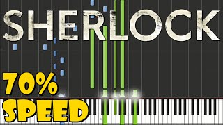 Sherlock BBC - Main Theme Piano Tutorial [70% Speed]