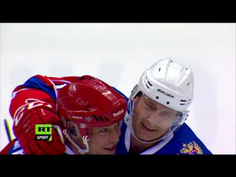 Vladimir Putin playing ice hockey in Sochi