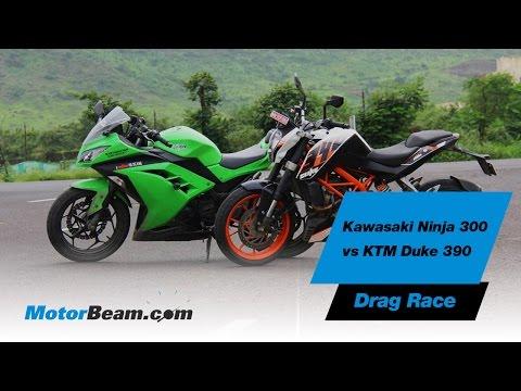 Kawasaki Ninja 300 vs KTM Duke 390 - Drag Race