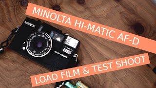 How to use MINOLTA HI-MATIC AF-D Load Film & Test Shoot cheap 35mm film camera