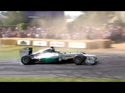 Lewis Hamilton goes donut crazy in Mercedes F1 W03 | Festival of Speed 2014