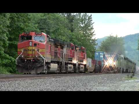 Amtrak Empire Builder #8 Overtakes BNSF Stack Train at Gold Bar, WA 5-25-13