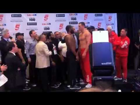 WLADIMIR KLITSCHKO v BRYANT JENNINGS - OFFICIAL WEIGH IN & FACE-OFF FROM MADISON SQUARE GARDEN - NYC