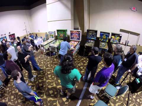 Lyman Sheets Playing the Harlem Globetrotters Pinball Machine at the 2014 Louisville Arcade Expo