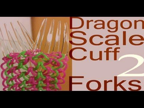 Dragon Scale Cuff  on 2 forks - Rainbow