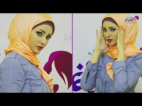بكل سهولة تعلمي طريقة لفة حجاب سواريه بألوان البنفسجي والسيموني