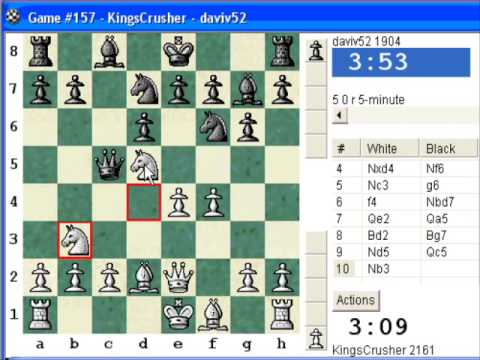 Chess World.net: Blitz #165 vs daviv52 (1904) - Sicilian Defense : dragon, Levenfish; Flohr var.