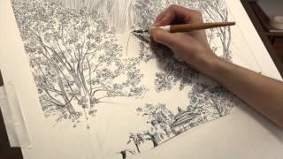 Time-Lapse Drawing: Dip Pen, India Ink, Landscape