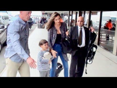 MIRANDA KERR & SON, FLYNN DEPART SYDNEY AIRPORT