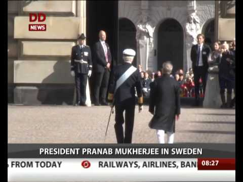 President Pranab Mukherjee receives ceremonial welcome in Sweden