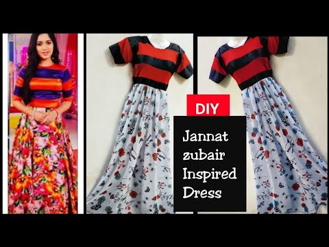 Diy: Jannat Zubair inspired dress/Convert Old fabric into Front Slit gown HINDI