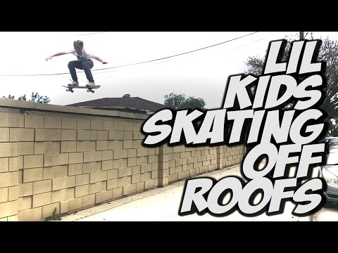 LIL SKATER KIDS JUMPING OFF ROOFS !!! - A DAY WITH NKA -