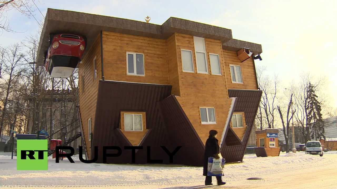 Russia upside down house turns heads in moscow youtube The upside house